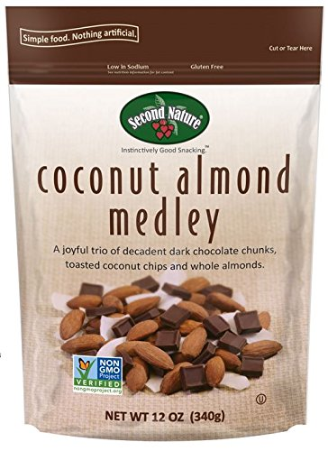 Dark Chocolate Tart (Second Nature Coconut Almond Medley Premium 12 oz Trail Mix in Resealable Pouch - Trio of Whole Almonds, Toasted Coconut Chips & Dark Chocolate Chunks - Non GMO Project Verified)
