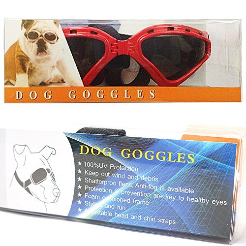 LUCKSTAR Cool Pet Sunglasses Animal Fashion Eye Protection UV Sunglasses New Fashionable Water-Proof Adjustable Elastic Back Strap Antifog Shatterproof Lenses For Pet Dogs Or Cats (Red) by AUTOFLY (Image #5)