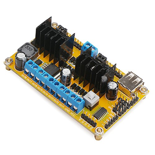 DROK® L298N Motor Drive Controller Board Dual H-bridge DC Motor Driver Chip DC-DC 5-30V Regulator WIFI Car Drive Module with 2A Peak Current Can Drive 4 DC Motors/ 2 Stepper Motors