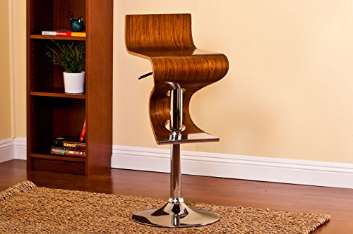 Modern Bar Walnut Stool - Christies Home Living Bentwood Walnut Stain Finish Contemporary Style Adjustable Barstool With Curved Seat And Back