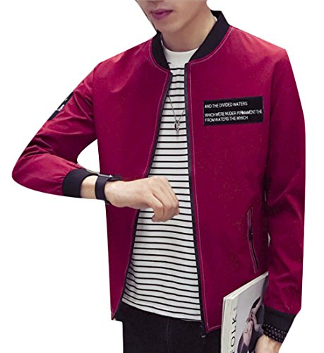 Zip Baseball Red Jacket Slim Mens Up Autumn Outwear Fit Letters Generic xtA7ZfwZ