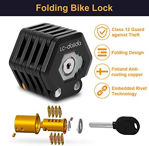 Lc Dolida Folding Bicycle Chain Lock 85 Cm 33 5 Inches With 26 Joints High Security Level 8 For Mountain Bike Road Bike Bmx Mtb 3 Keys And Holder Sport Freizeit