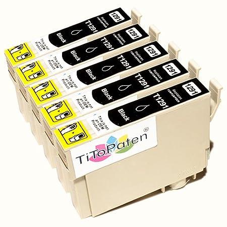 *TITOPATEN* 5x Epson Stylus Office BX 535 WD Plus kompatible XL Druckerpatrone ersetzt Typ T1291-1294 - Schwarz - Patrone MIT