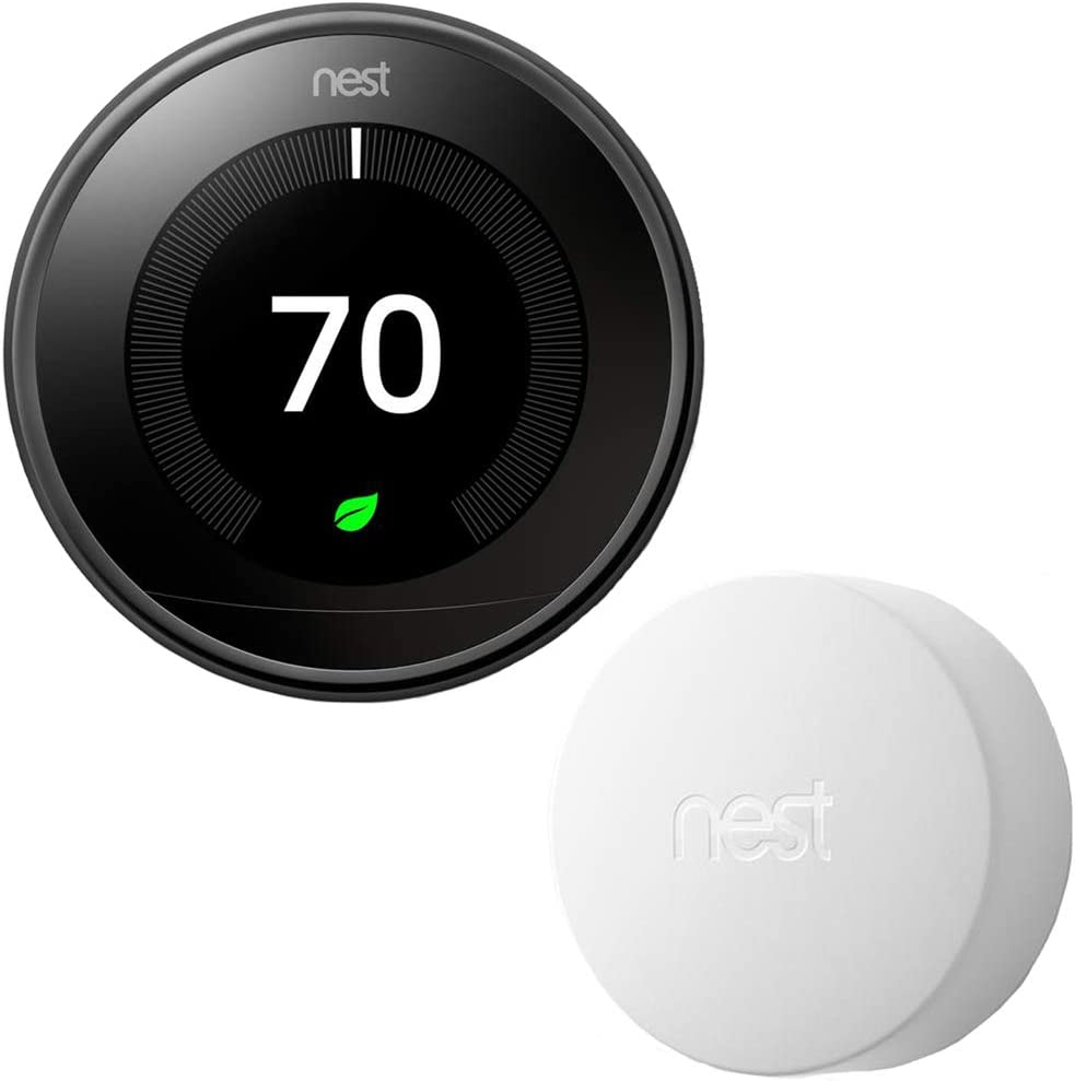 Google Nest T3018US Learning Thermostat 3rd Gen Smart Thermostat, Mirror Black Bundle Temperature Sensor