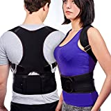 Posture Corrector Clavicle Support Brace for Women Men, Best Fully Adjustable Support Shoulder Back, Provides Lumbar Support, back support, Fix Upper Back Pain, Posture Support Improves Posture (L)