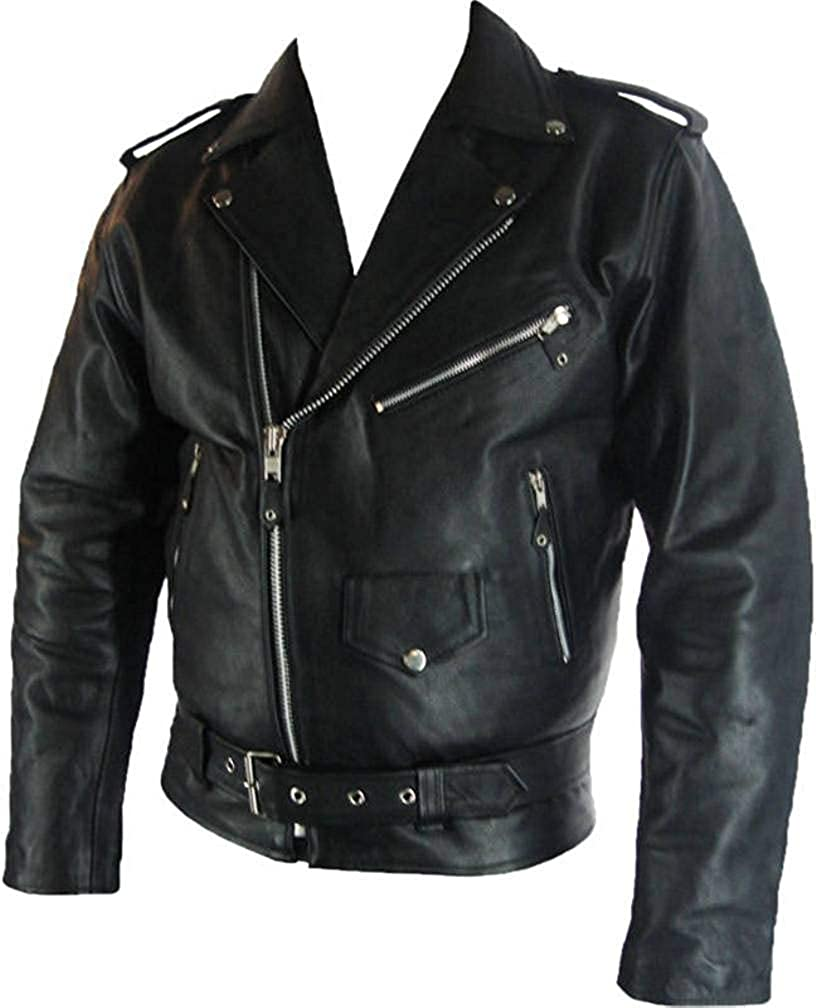 Mens classic Brando Biker style Real Leather Jacket #B2