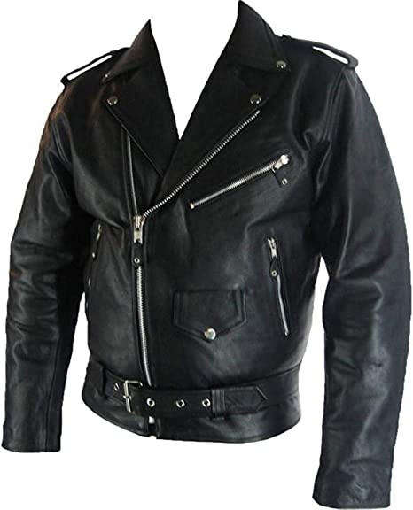 4dba843d6 Mens classic Brando Biker style Real Leather Jacket #B2