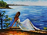 WHITE ANGEL is an Original Oil Painting on Canvas by Leonid Afremov. Leonid had this to say about WHITE ANGEL: The girl on the seashore is waiting for something, someone or simply admiring a beautiful view. She looks like a princess waiting for her p...