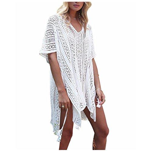 YJYdada Women Bathing Beach Cover Up Dress Bikini Swimsuit Swimwear Crochet Smock (White) by YJYdada
