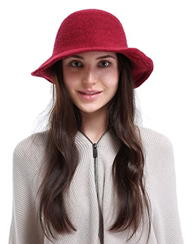 La Vogue Women's Vintage Style Autumn Winter Bucket Hat With Bowknot Red