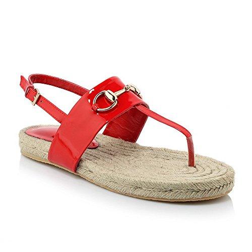 AgooLar Mujeres Mini Tacón Puntera Dividida Sólido Hebilla Sandalia Rojo