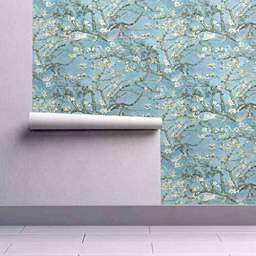 (Peel-and-Stick Removable Wallpaper - Vincent Van Gogh Large by - Van Gogh Almond Trees Branches Floral by Peacoquettedesigns - 24in x 96in Woven Textured Peel-and-Stick Removable Wallpaper Roll)