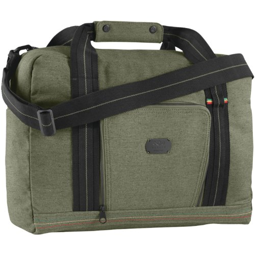 House of Marley, Lively Up Overnighter Bag, Padded External Laptop Pocket, 19.5in x 11.75in x 7.75in, Removable Shoulder Strap, Made of Hemp and Organic Cotton, BM-JD000-MT Military by House of Marley