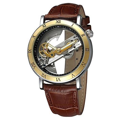 FORSINING Men's Unique Design Luxury Automatic Movt Popular Style Genuine Leather Strap Skeleton - Popular Styles