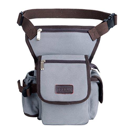 Pouch Tools Bags Tactical Leg Bag Purse Fanny Pack Thigh Bags Bike Cycling Hip Bag Canvas (Grey305) ()