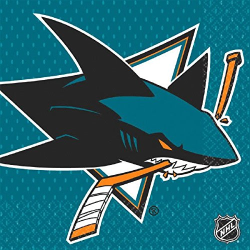 """Amscan NHL Hockey Sports San Jose Sharks Party Luncheon Napkins (16 Piece), Teal, 6.5 x 6.5"""""""