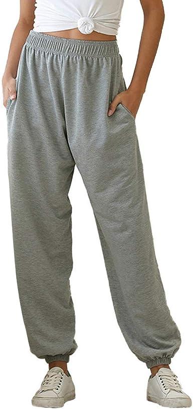 Litthing Pantalones Mujeres Deportivos Cintura Elastica Pantalones Largos Pantalones Ejercicio Yoga Pantalones Sueltos Para Mujeres Pantalones De Ocio Amazon Es Ropa Y Accesorios