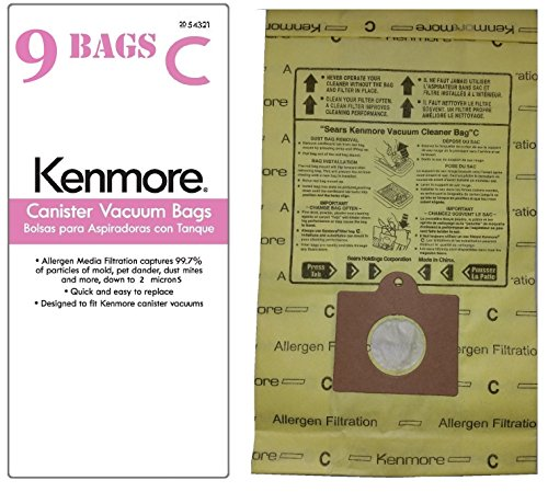 9 Kenmore Design C & Style Q Standard Filtration Canister Vacuum Bags. Also Fits Panasonic C-5, C-18.