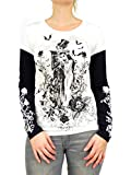 Women's Slim Bride & Groom Skeleton Layered Long Sleeve T-Shirt (XX-Large, White)
