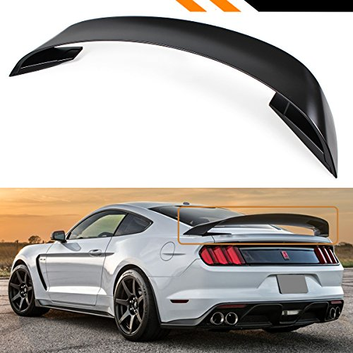 (Cuztom Tuning Fits for 2015-2017 Ford Mustang GT350 Style 3Pcs Double Deck Primer Matte Black Big Trunk Spoiler Wing)