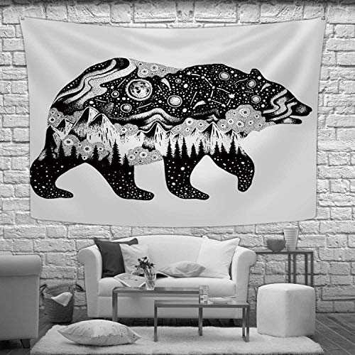 """Hitecera Bear Silhouette for t Shirt Print or Temporary Tattoo Tapestry Wall Hanging,Hand Drawn Surreal Design for Apparel Wall Art for Bedroom Decor,90.5""""W x 59.1""""H"""