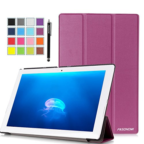 Sony Xperia Z4 Tablet Case, Pasonomi® Ultra-Slim and Ultra-light PU Leather Folio Case Stand Cover With Smart Cover Auto Wake / Sleep Feature for Sony Xperia Z4 Tablet-PC 10.1 inch (Slim Series Purple)