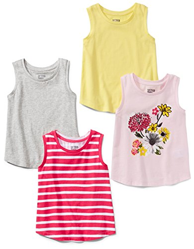 Spotted Zebra Toddler Girls' 4-Pack Tank, Floral, 4T