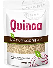 Quinoa blanca Premium - 1kg - NATURACEREAL   Mayor contenido de minerales que el arroz,   Rico en fibras y proteínas   Libre de gluten   Vegano   Sin ingeniería genética  