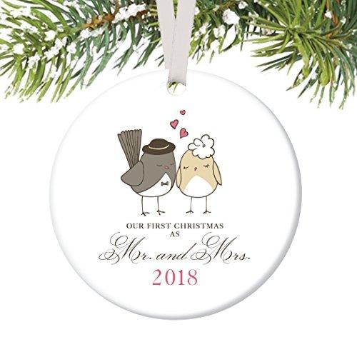 Love Bird Ornament (Love Birds Ornament 2018, Mr & Mrs Ornament, Wedding Gift Porcelain Ornament, 1st Married Christmas, 3