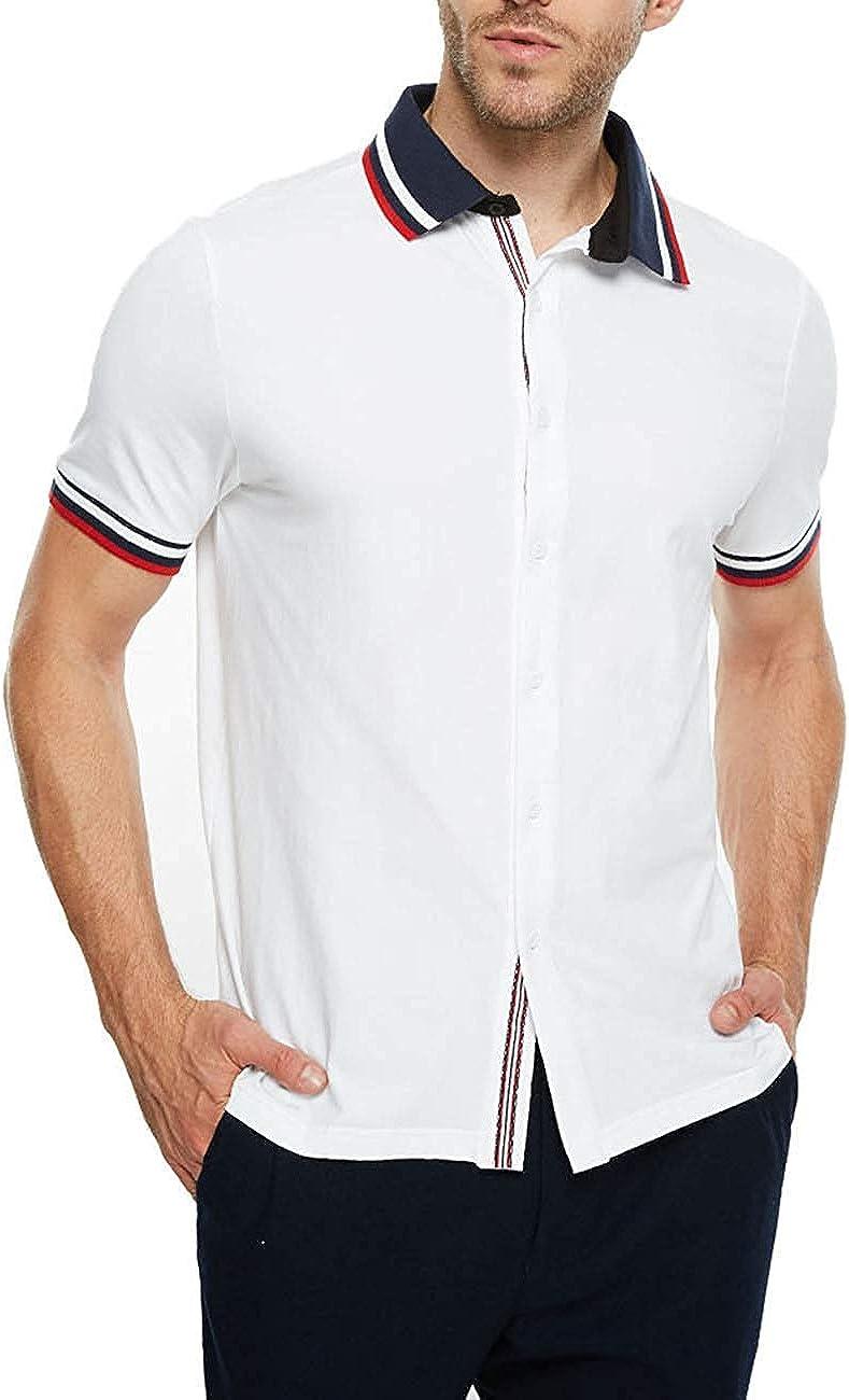 APRAW Men's Summer Casual Polo Shirt Short Sleeve Button Down Cardigan Top