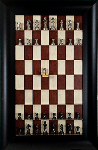 (Red Maple Straight Up Chess board with Wide Scoop frame and Metal Chess pieces)