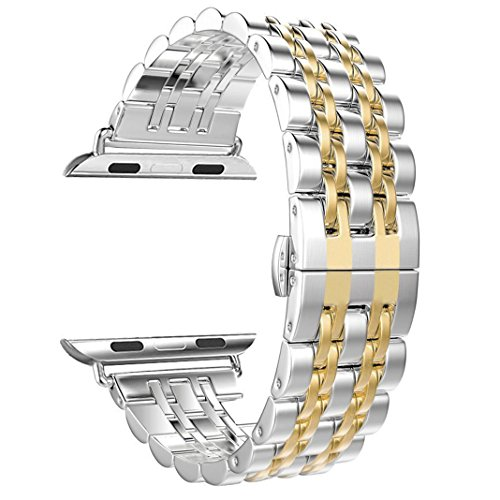 NO1seller Top Bands Compatible for Apple Watch Series 4 40mm 44mm / Series 3 2 1 38mm 42mm Sport,Nike+,Edition for Women Men, Silver Gold Solid Stainless Steel Bracelet Replacement Wristband