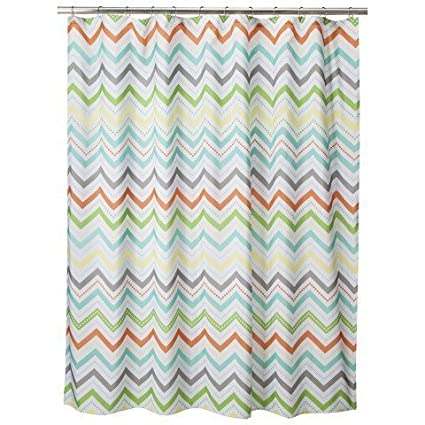 YOUHOME Warm Chevron Shower Curtain 72x72 Inch Colorful Cheveron Gray Blue Orange And Green