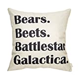 Fahrendom Bears, Beets, Battlestar Galactica, The Office Quote Sign Cotton Linen Home Decorative Throw Pillow Case Cushion Cover with Words for TV Series Lover Sofa Couch 18 x 18 in