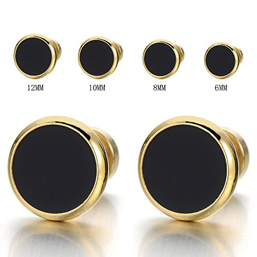 6MM Mens Womens Gold Black Stud Earrings Stainless Steel Illusion Tunnel Plug Screw Back, 2pcs