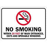 """SmartSign Plastic Sign, Legend """"No Smoking Within 20 Ft of Main Entrances"""" with Graphic, 7"""" High X 10"""" Wide, Black/Red on White"""