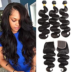 Queen Story 30 Inch Bundles Brazilian Virgin Hair Human Hair Bundles with Closure Body Wave Bundles with Closure Remy…