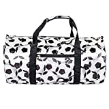 Soccer Pattern 19 Inch Round Duffel Bag with Handles and Shoulder Strap For Sale
