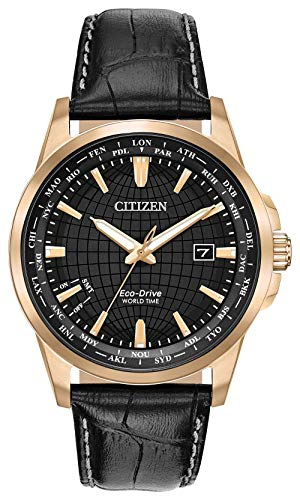 Eco Drive World Time Watch - Citizen World Time Black Dial Leather Strap Men's Watch BX100308E