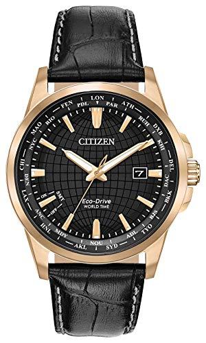 Citizen World Time Black Dial Leather Strap Men's Watch BX100308E ()