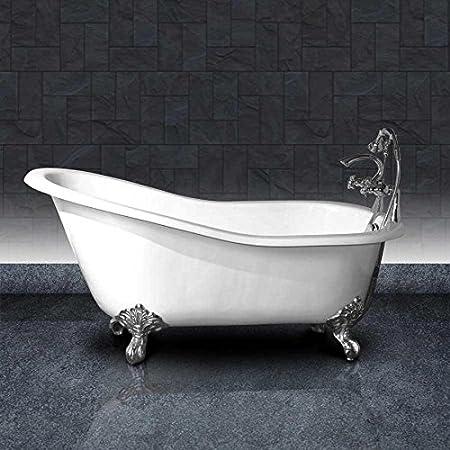 Small Cast Iron Bathtub Ashford 146 Cm White And Chrome Legs Amazon