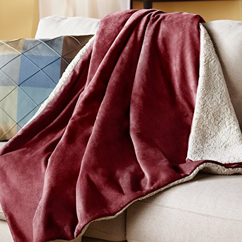 Sunbeam Reversible Sherpa/Mink Heated Throw, Garnet, TRT8WR-R310-25A00