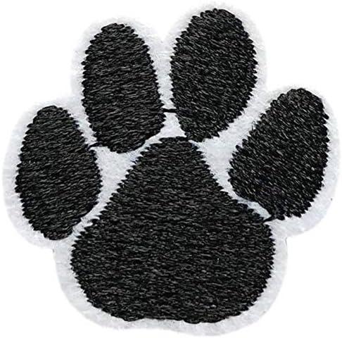 あしあと 肉球 ワッペン 刺繍 アイロン接着 縦3cm×横3cm 足跡 足型 動物 アップリケ アイロンワッペン ワッペンデコ ワッペンカスタム 可愛い WAPPEN ホワイト×ブラック