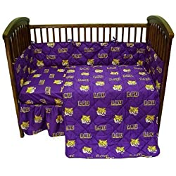 LSU 5 Pc Baby Crib Logo Bedding Set by College Cover, LLC