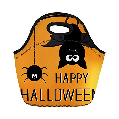 Tinmun Lunch Tote Bag Orange Autumn Cute Bat and Hanging Spider Happy Halloween Reusable Neoprene Bags Insulated Thermal Picnic Handbag for Women Men -