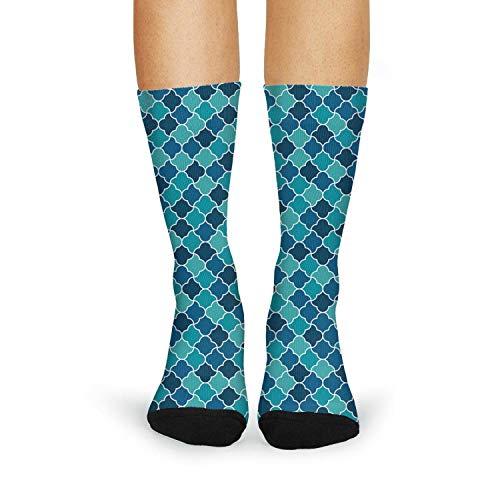 Cool Beautiful Blue Mosaice Lattice Fashion Women's Sporty Knee High Socks