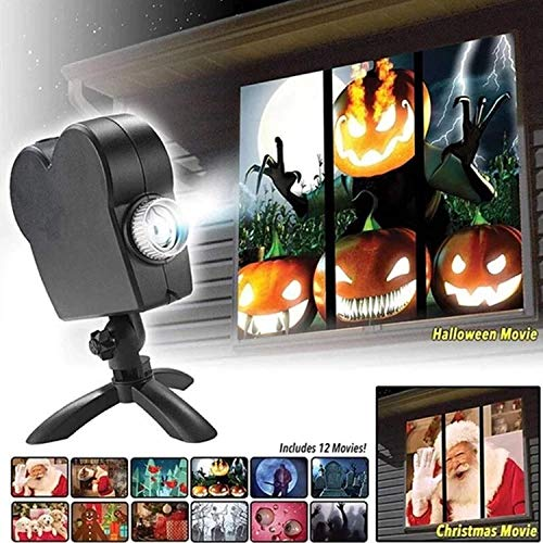 Haunted Halloween Projector – Display Stunning Holiday Movies in Your Window – 12 Short Movies Included