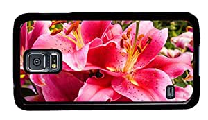 Hipster Samsung S5 Case thin pink lily flowers PC Black for Samsung S5