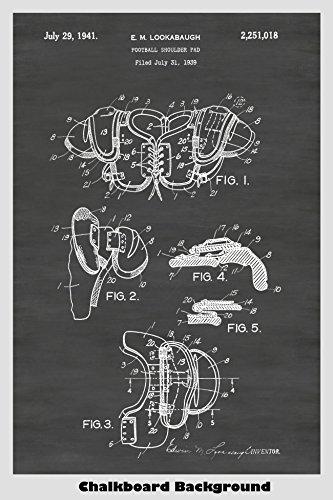Vintage Football Shoulder Pads Patent Print Art Poster: Choo