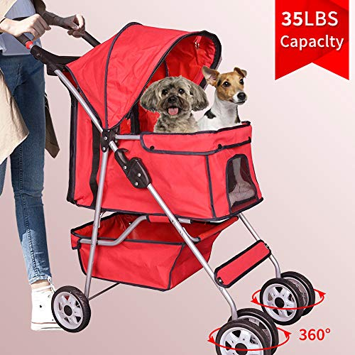 Bigacc Red 4 Wheels Pet Stroller Dog Stroller Cat Stroller Pet Jogger Stroller 35lbs Capacity Travel Lite Foldable Carrier Strolling Cart W/Cup Holders Removable Liner for Medium and Small Dog